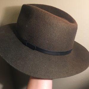 Army green fedora hat